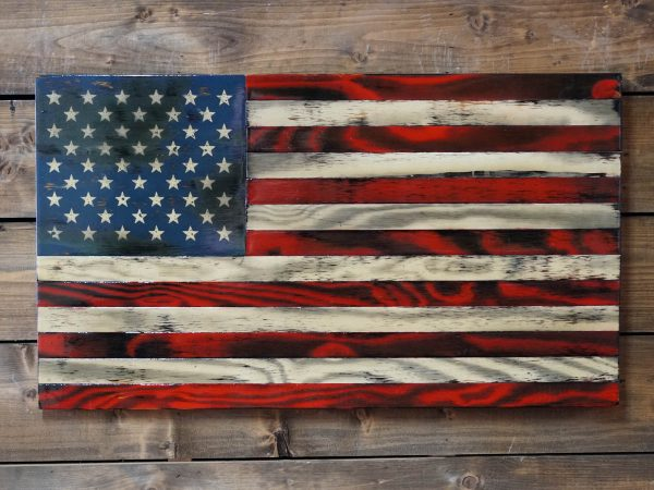 Old Tattered - Handmade Wooden American Flags