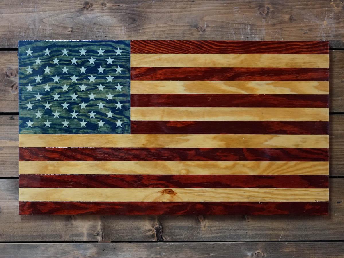 Handmade American Rustic Wooden Flags - Veteran Made Woodworks