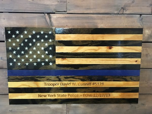 Rustic Thin Blue Line - Handmade Wooden American Flags