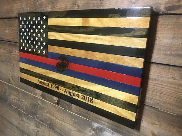 Semper Fi - Handmade Wooden American Flags
