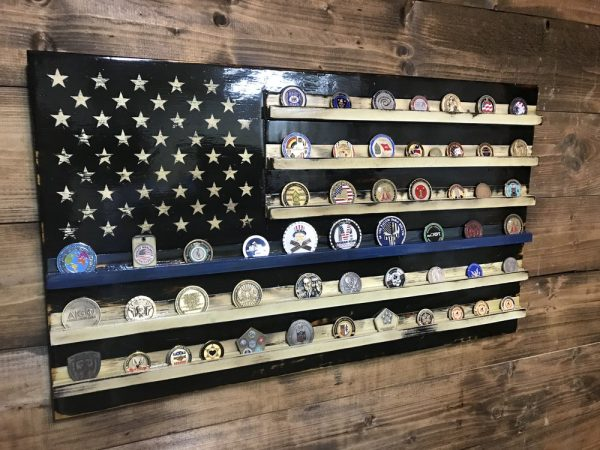 Tattered Thin Blue Line Challenge Coin Holder