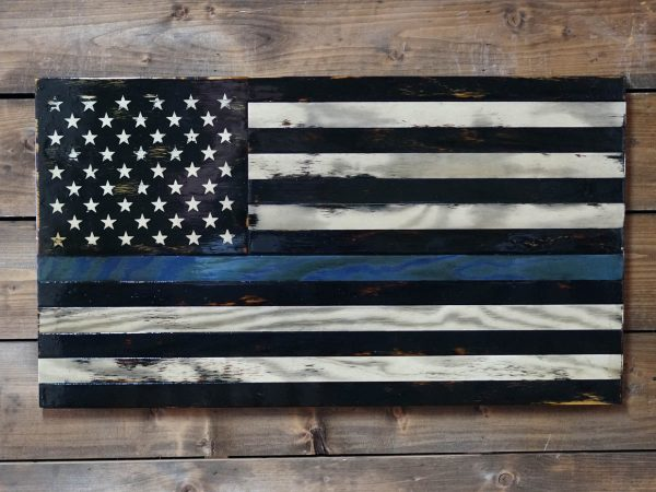 Tattered Thin Blue Line - Handmade Wooden American Flags